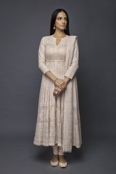 Chikankari Suits and Anarkalis Indian Gowns Dresses, Indian Fashion Dresses, Pakistani Dresses, Indian Outfits, Indian Designer Suits, Indian Designers, Anarkali Dress, White Anarkali, Kurti Designs Party Wear