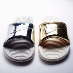Nike Benassi Slides metal pack // now on blogandthecity.net