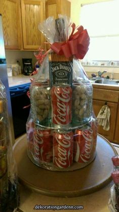 Jack & coke cakeMore ⬇️⬇️ Open when you are stressed out: Alcohol Gift Baskets, Liquor Gift Baskets, Alcohol Gifts, Raffle Baskets, Homemade Christmas Gifts, Xmas Gifts, Homemade Gifts, Diy Gifts, Creative Gift Baskets