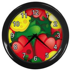 Bell+Peppers+Pattern+Black+Frame+Kitchen+Wall+Clock