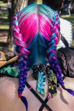 Turquoise blue fuschia pink braided dyed hair