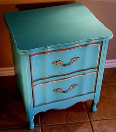 Turquoise French Provincial Nightstand
