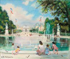 Jules-René Hervé - Yachts à voile de jouets en jardin des Tuileries