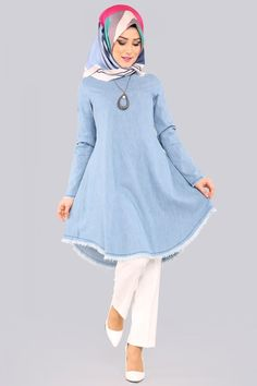 Kot Tunik AST302 Açık Kot Frock Fashion, Abaya Fashion, Muslim Fashion, Modest Fashion, Fashion Dresses, Hijabs, Jeans Refashion, Short Frocks, Mode Jeans
