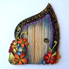 Blue and Orange Flower Fairy Door Polymer Clay Miniature Art Collectible One of a Kind Handmade Wall Decor