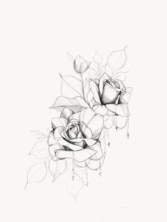 Rose Drawing Tattoo, Tattoo Sketches, Tattoo Drawings, Mandala Tattoo, Arm Tattoo, Adobe Photoshop, Chandelier Tattoo, Flower Outline, Simple Line Drawings