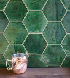 Large Hexagon - Vermont Pine Installed I love this color. I do not love this price tag. Vermont, Hexagon Backsplash, Hexagon Tiles, Green Tile Backsplash, Dark Green Kitchen, Honeycomb Tile, Black Kitchens, Kitchen Tiles, Kitchen Flooring