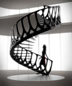 Vertebrae Staircase / Andrew McConnell - Inspired by the spine of a whale (step, banister, and railing). The outer surface is composed of multiple layers of a durable composite fibre material while inside are the key structural elements.