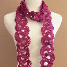 Crochet Queen Annes Lace Scarf Seashell Ombre Varigated Multicolor Pink And Brown on Luulla