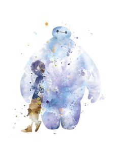 Hiro and Baymax Print Watercolor Baymax Poster Big Hero Nursery Art Boys Wall Decor Disney Birthday Arte Disney, Disney Fan Art, Disney Pixar, Punk Disney, Disney Movies, Disney Characters, Watercolor Disney, Watercolor Art, Disney Drawings