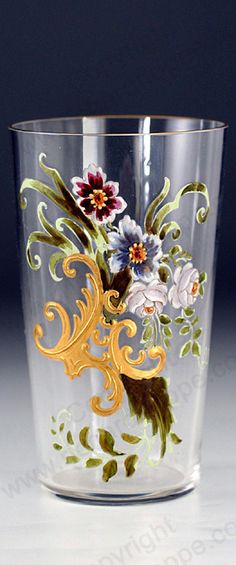 ANTIQUE GLASS. c.1900 FLORAL & GILT ENAMELLED JUICE WATER GLASS TUMBLER SEKTBECHER #3, PROBABLY FRITZ HECKERT. This item is sold, to visit my website to see what's in stock click here: http://www.richardhoppe.co.uk or for help or information email us here: info@richardhoppe.co.uk