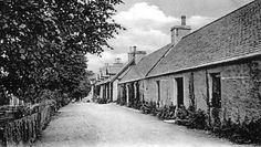 Old photograph of cottages in Braemar, Aberdeenshire, Scotland