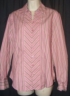 $18.29 Van Heusen Wrinkle Free Pink Striped Button Front Career Shirt Top S