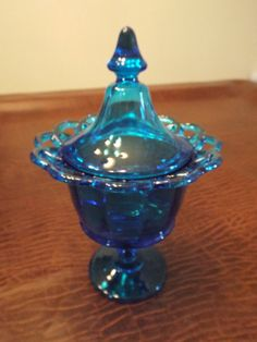 SALE Cobalt Blue Covered Candy Dish with Lace by burnedbunny, $29.00