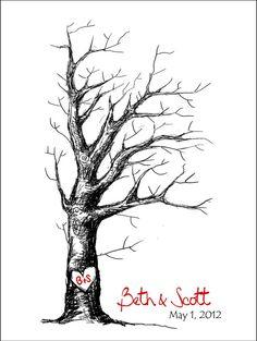 Cool looking wedding thumbprint tree (etsy)