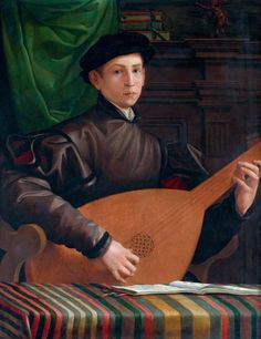 Francesco Salviati (1510-1563) ~ Portrait of a Lute Player  ~ 1529 ~ Oil on panel, 96 x 77 cm ~ Musée Jacquemart-André – Institut de France