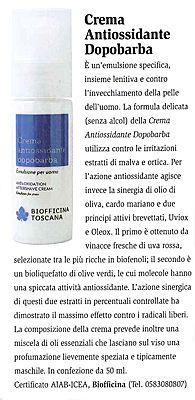 E' un emulsione specifica, insieme lenitiva e contro l'invecchiamento della pelle dell'uomo... Per l'azione antiossidante agisce invece la sinergia di olio di oliva, cardo mariano e due principi attivi brevettati, Uviox e Oleox. Il primo è ottenuto da vinacce fresche di uva rossa... ricche di biofenoli; il secondo è un bioliquefatto di olive verdi le cui molecole hanno una spiccata attività antiossidante... (Da l'Erborista - settembre 2010)