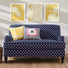 PB Teen Alston Loveseat, Navy Polka Dot (1,245 CAD) ❤ liked on Polyvore featuring home, furniture, sofas, navy, low sofa, pbteen furniture, navy sofa, navy blue sofa and navy furniture