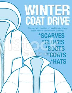 Winter Coat Drive Charity Poster Template. Assortment Of Coats In.  Clothing Drive Flyer Template