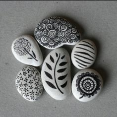 rocks drawn on with a sharpie pen