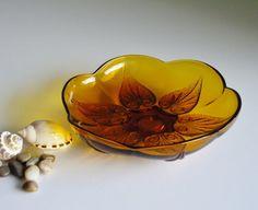Vintage Amber Glass Bowl - Anchor Hocking Renaissance Beaded Leaf - Mid Century Glass