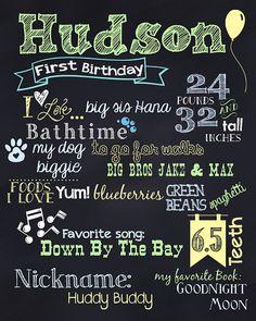 First Birthday Boy or Girl Chalkboard by LadybugsandGrasshopp, $20.00