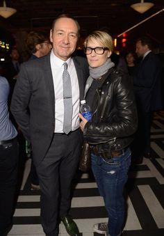 Pin for Later: Suite et fin du festival du film de Tribeca ! Robin Wright avec Kevin Spacey, le héros de House of Cards à la soirée de Now: In the Wings on a World Stage.