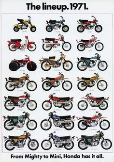 1971 HONDA LINE UP FULL LINE VINTAGE MOTORCYCLE POSTER 36x25 in Art, Art from Dealers & Resellers, Posters | eBay