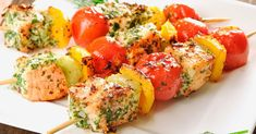 Salmon skewers with vegetables – One of the most popular recipes with us >> – … - Lachs Rezepte Kebab Recipes, Salmon Recipes, Beef Recipes, Cooking Recipes, Healthy Recipes, Shrimp Recipes, Snacks Recipes, Protein Recipes, Protein Snacks