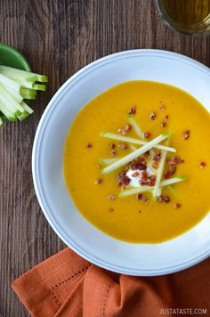 Butternut Squash Apple Soup from justataste.com #recipe. The tart apple may balance out the potential sweetness of the squash.  I think I'd use immersion blender, and add some heavy cream.