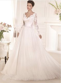 Discount 2016 Lace Long Sleeves Tulle A Line Muslim Wedding Gown Pictures From Trustful Online Seller Easebuydress