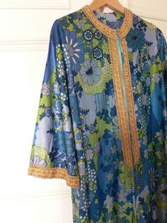 vintage retro original 60s 70s psychedelic flower power kaftan dress