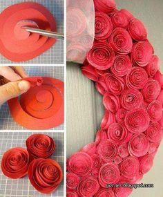 Paper Rose Wreath tutorial - perfect for Valentine's Day Valentine Wreath, Valentine Crafts, Christmas Crafts, Flowers For Valentines, Cute Crafts, Crafts To Do, Diy Crafts, Geek Crafts, Diy Fleur