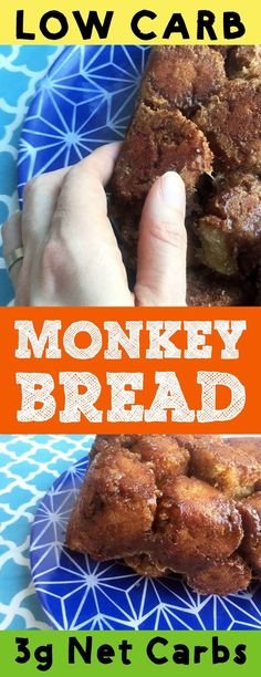 This low carb monkey bread is so tasty! It has all the ooey gooey goodness of normal monkey bread but only has 3g net carbs. This dessert is Atkins, Banting, LCHF, THM-S and sugar free compliant. #resolutioneats #lowcarb #thm #lchf #monkeybread #bread