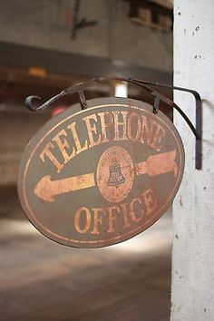 Old Vintage Style Metal Telephone Office Advertising Sign Double Sided Bell  $48.00