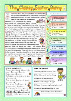 The Clumsy Easter Bunny Free worksheet: A nice story about a clumsy Easter Bunny for young learners. Comprehension exercises and KEY included. Editable.