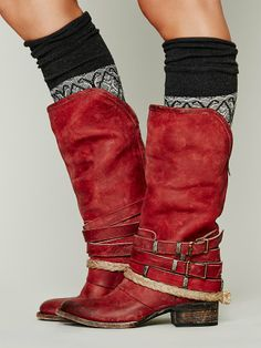 Red Free People Free Bird by Steven Drazen Mid Boot, $298