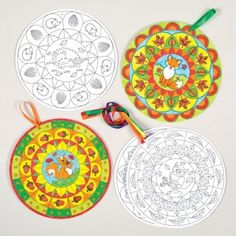 Autumn Mandala Colour-in Decorations Woodland creatures combine with mandala to create wonderful patterned decorations! Colour in using our fibre tip or Deco pens and then thread with ribbon to hang. 5 autumnal designs. Size 18cm diameter.