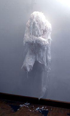 Discarded Plastic Bags Sculptures by Khalil Chishtee    #Art, #Sculpture, #Plastic bags