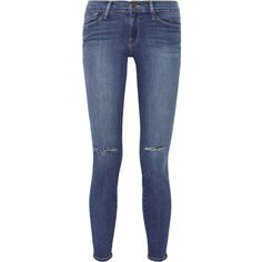 Frame Denim Le Skinny de Jeanne distressed mid-rise jeans ($150) ❤ liked on Polyvore featuring jeans, pants, bottoms, jeans/pants, frayed skinny jeans, blue skinny jeans, super stretch skinny jeans, destroyed jeans and blue jeans