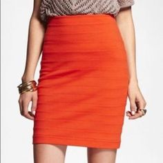Really cute red/orange bandage Express skirt ❤️ Really cute skirt! Perfect for office or going out  Tag says 00 but it can fit anyone from size 00-2 because it's VERY stretchy  Worn only a handful of times  Express Skirts