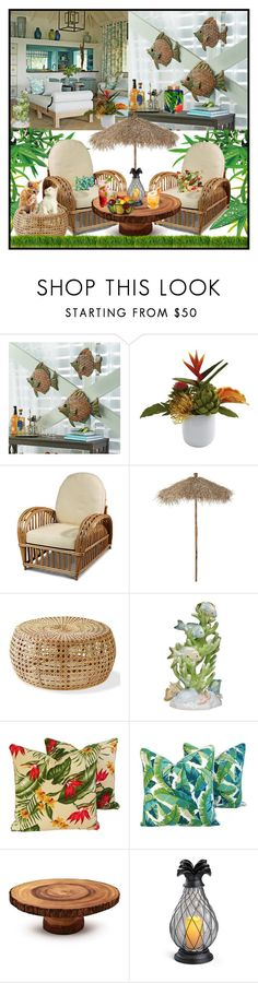 """""""Tropical Decor"""" by fantasiegirl ❤ liked on Polyvore featuring interior, interiors, interior design, home, home decor, interior decorating, Improvements, Garden Trading, Herend and Sur La Table"""