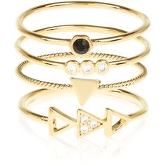 Accessorize 4 x Geo Triangle Stacking Ring Set ($29) ❤ liked on Polyvore featuring jewelry, rings, accessories, triangle jewelry, triangle ring, gold plated ring, geometric jewelry and stackable rings
