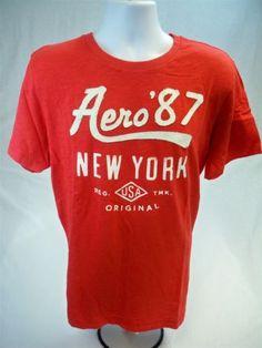 Aeropostale-Mens-Short-Sleeve-Graphic-T-shirt-Red-size-XL-Aero-Tee-New