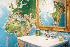 World Wallpaper Art - This World Map Wall Mural is Perfect for Geographers and Travelers (GALLERY) Bathroom Photos, Bathroom Wallpaper, Bathroom Updates, Bathroom Mirrors, Bathroom Ideas, Gold Mirrors, Baroque Mirror, Interior Wallpaper, Bathroom Makeovers
