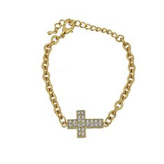 Pulseira de cruz com strass super fashion