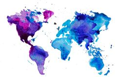 Comes stretched over wood and ready to hang on any nail, screw, hook straight to your wall. This large and absolutely beautiful canvas print shows the map of the world. How stunning are the colours in purple, peacock blue and dark blue. Bound to add beautiful colour to your space.A quality piece of artwork for your home at an inexpensive price. Measures 60 x 80cm
