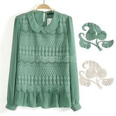 Korean Women Long Sleeve Dolls Collar Loose Lace Chiffon Shirt Tops Blouse