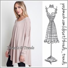 Drop Shoulder Asymmetrical Tunic Classic asymmetrical tunic with dolman sleeve design. Color mocha. Made of rayon, cotton and spandex. Size S, M, L can also fit XL. Threads & Trends Tops Tunics