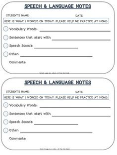 Speech and Language Home Practice Notes - FREEBIE These quick little notes come in handy for communicating with parents and encouraging home practice. Just check off the targeted skills and attach to worksheets and crafts that were completed in your session.